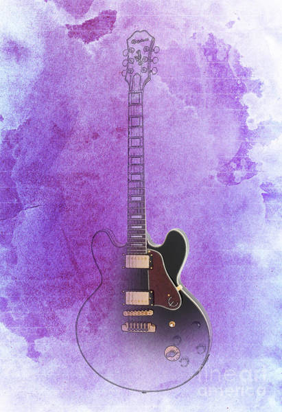 B B King Drawing - Gibson Lucille Guitar, Purple Background by Drawspots Illustrations