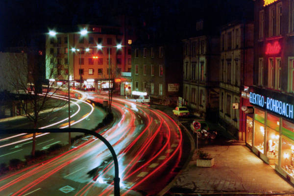 Photograph - Giessen Fussganger At Night 1984 by SR Green