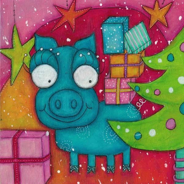 Joyous Mixed Media - Gifting Piggy by Barbara Orenya