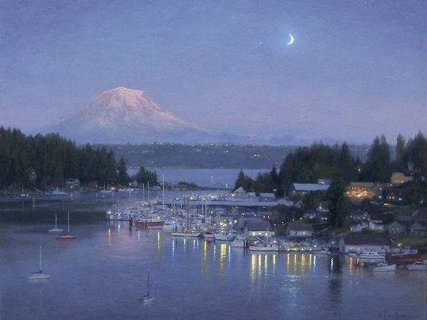 Nocturnal Wall Art - Painting - Gig Harbor Evening Reflections by Ezra Suko