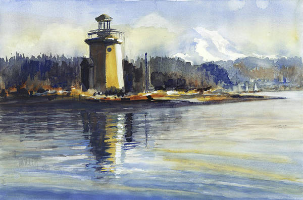 Tacoma Painting - Gig Harbor Lighthouse by Lola Waller