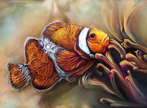 Clownfish Painting - Giger Fish by Julianne Black DiBlasi
