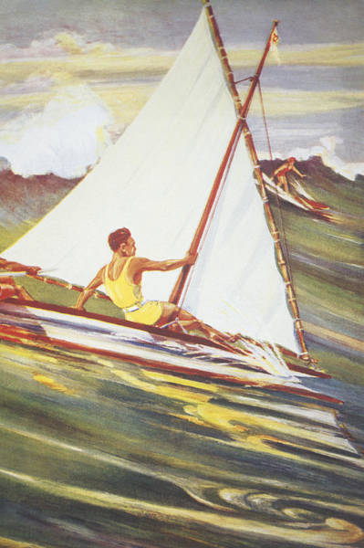 Archival Painting - Gilles Man Surfing by Hawaiian Legacy Archive - Printscapes