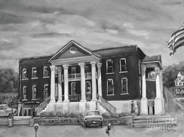 Painting - Gilmer County Old Courthouse - Black And White by Jan Dappen