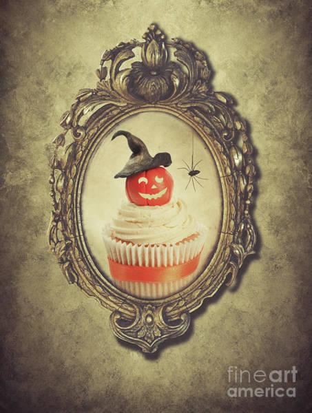 Fairy Cake Wall Art - Photograph - Gilt Frame With Halloween Cupcake by Amanda Elwell