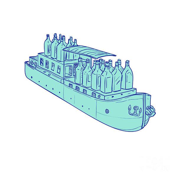 Wall Art - Digital Art - Gin Bottles On Barge Boat Drawing by Aloysius Patrimonio