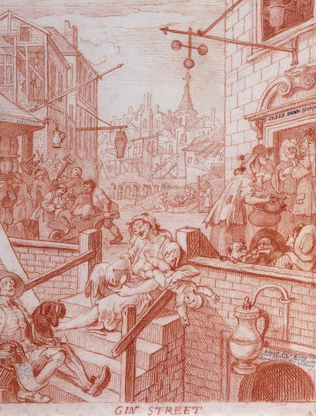 Drawing - Gin Street by William Hogarth