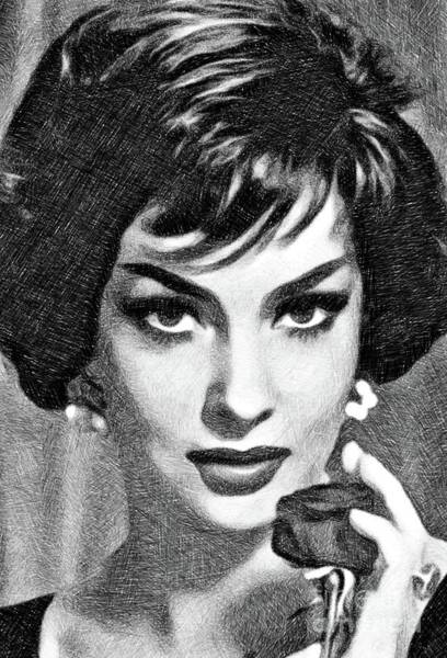 Gina Wall Art - Drawing - Gina Lollobrigida, Vintage Actress By Js by John Springfield