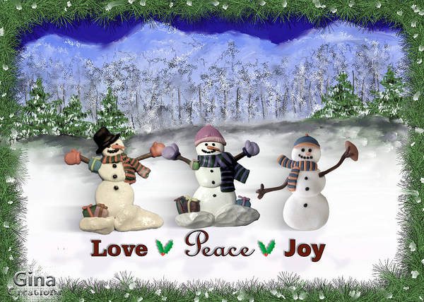 Digital Art - Gina's Snowmen 4 by Susan Kinney