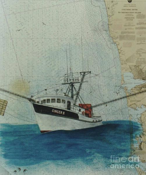 Warrenton Wall Art - Painting - Ginger B Shrimp Fishing Boat Nautical Chart Map by Cathy Peek