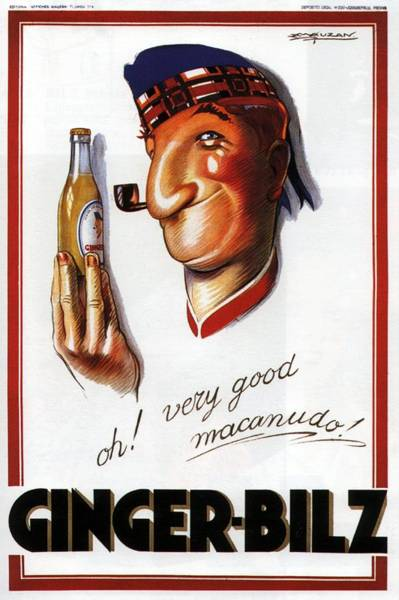 Beer Mixed Media - Ginger Bilz - Sailor With A Bottle Of Ginger Ale - Vintage Advertising Poster By Achille Mauzan by Studio Grafiikka