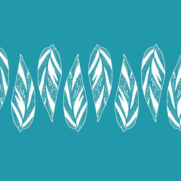 Digital Art - Ginger Leaf Lineup - Teal by Karen Dyson