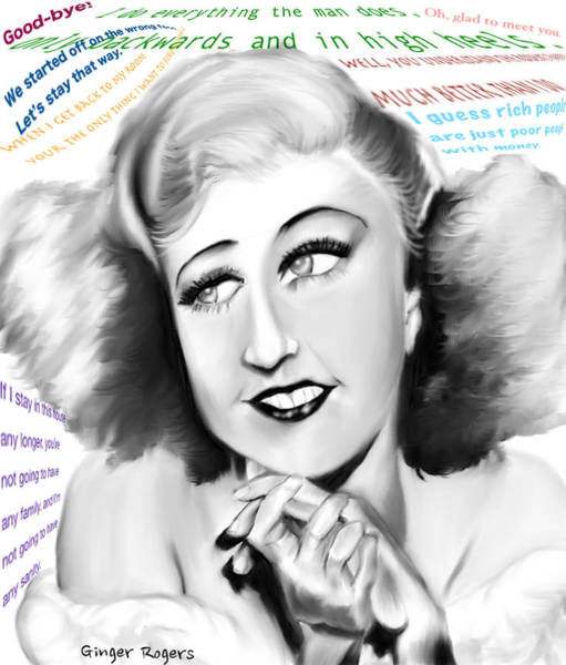 Leading Actress Digital Art - Ginger Rogers by Bless Misra