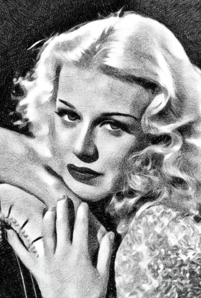 Dancer Drawing - Ginger Rogers, Vintage Actress And Dancer By Js by John Springfield