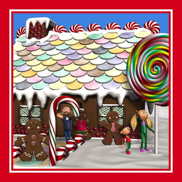 Digital Art - Gingerbread House Christmas Scene by Judi Suni Hall
