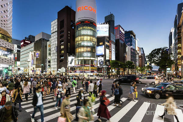 Photograph - Ginza Crossing At Night In Tokyo by Didier Marti