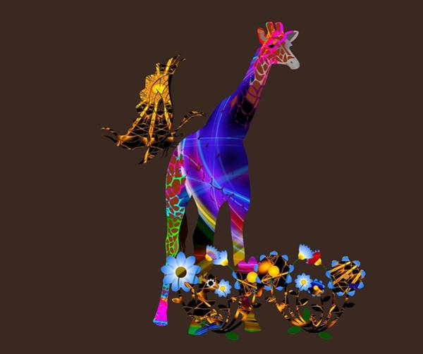 Digital Art - Giraffe And Flowers by Ericamaxine Price