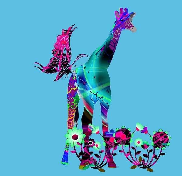 Digital Art - Giraffe And Flowers2 by Ericamaxine Price