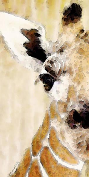 Courage Digital Art - Giraffe Art - Side View by Sharon Cummings