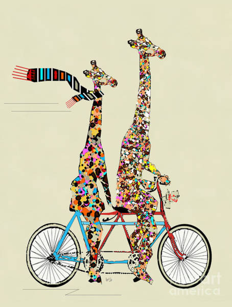Retro Painting - Giraffe Days Lets Tandem by Bri Buckley