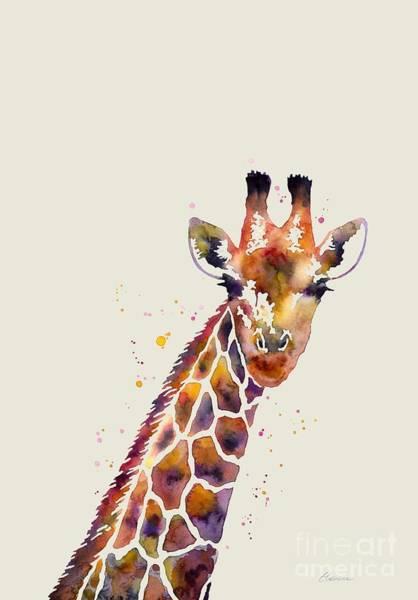 African Wildlife Painting - Giraffe by Hailey E Herrera