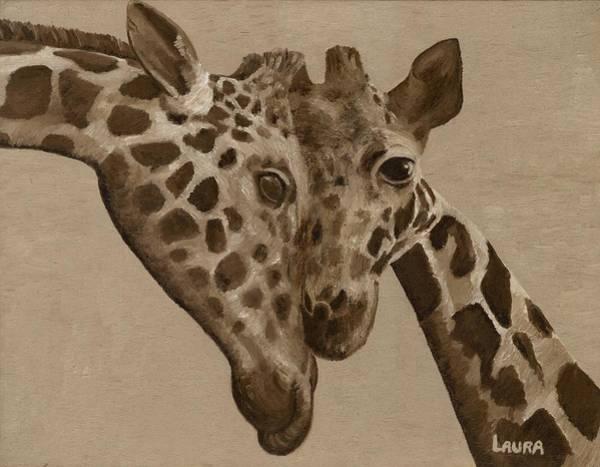 Wall Art - Painting - Giraffe Love by Laura Zoellner