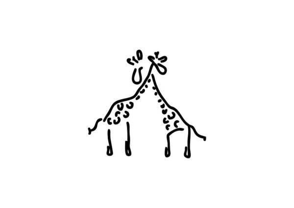 Lineart Drawing - Giraffe Love by Lineamentum