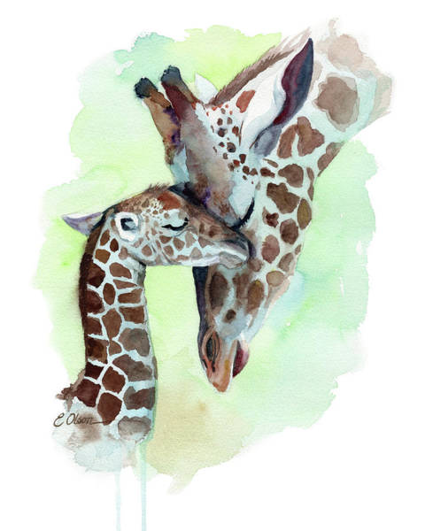 Snuggle Painting - Giraffe Mom And Baby by Emily Olson