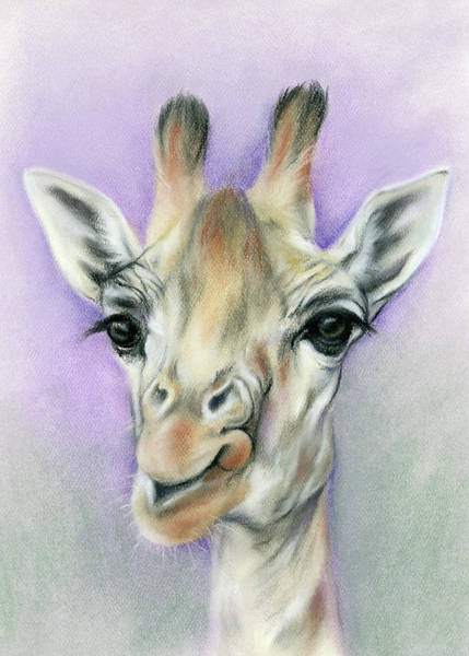 Pastel - Giraffe With Beautiful Eyes by MM Anderson