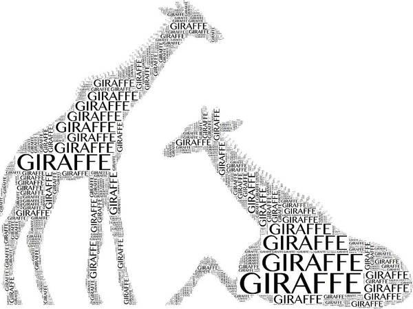Digital Art - Giraffe Word Art by Alice Gipson