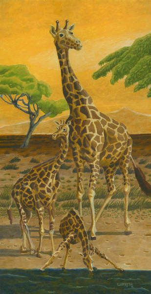 Drawing - Giraffes At Sunset by Dominic White