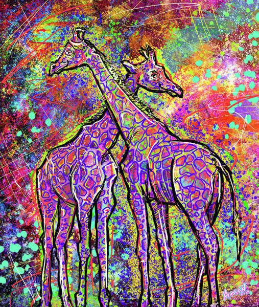 Hong Digital Art - Giraffes  by Morgan Richardson