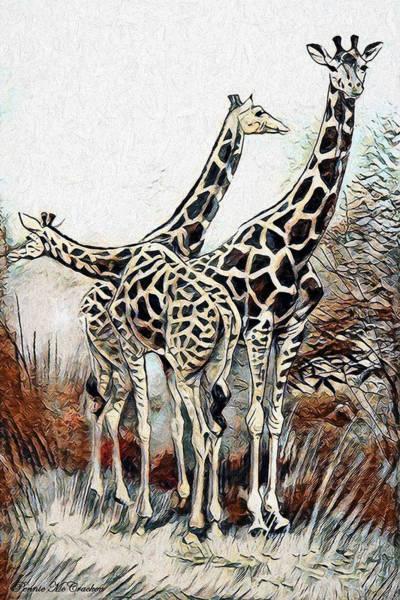 Digital Art - Giraffes by Pennie McCracken