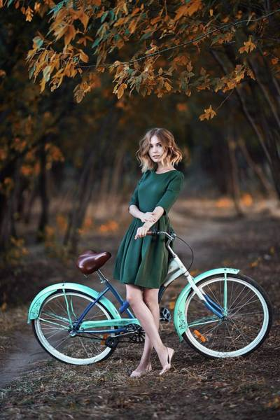 Alexander Vinogradov Photograph - Girl And Bicycle by Alexander Vinogradov
