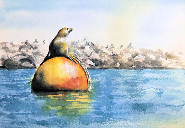 Painting - Girl And Buoy by Debbie Lewis