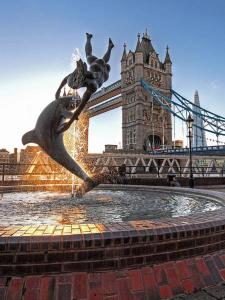 Photograph - Girl And Dolphin At Tower Bridge by Gill Billington