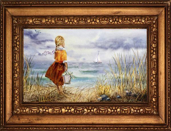 Painting - Girl And Ocean In Vintage Frame by Irina Sztukowski
