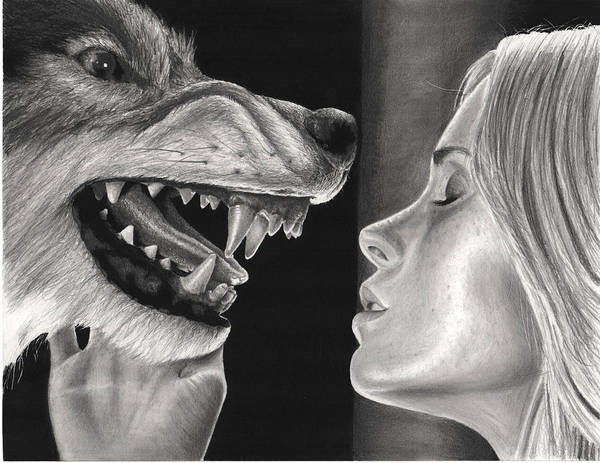 Cabin In The Woods Wall Art - Drawing - Girl And Wolf  by James Holko