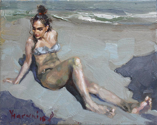 Wall Art - Painting - Girl At The Beach  by Ylli Haruni