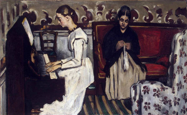 Sewer Painting - Girl At The Piano, Overture To Tannhauser by Paul Cezanne