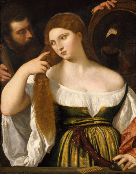 Titian Painting - Girl Before The Mirror by Titian