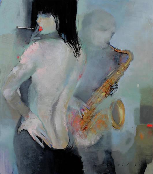 Wall Art - Painting - Girl - Blues by Viktor Sheleg