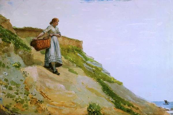 Wall Art - Painting - Girl Carrying A Basket By Winslow Homer 1882 by Movie Poster Prints
