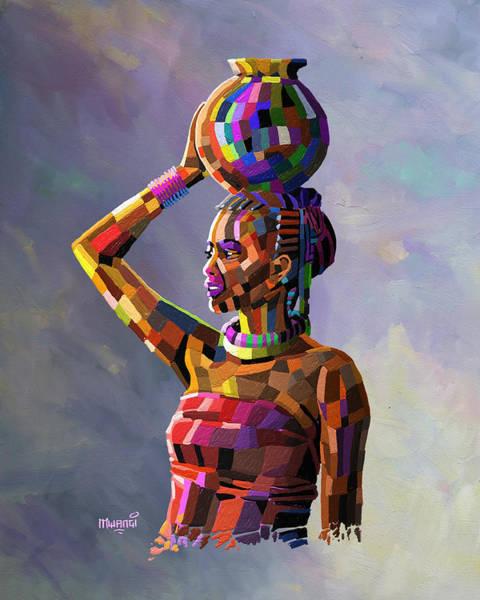 Uganda Painting - Girl Carrying Water by Anthony Mwangi