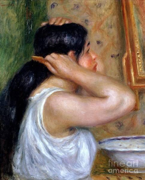 Wall Art - Painting - Girl Combing Her Hair by Pierre Auguste Renoir