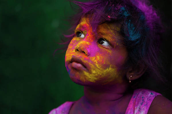 Photograph - Girl During Holi Festival by Mahesh Balasubramanian