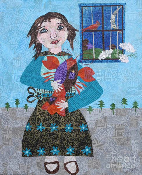 Sparrow Mixed Media - Girl Holding A Lobster by Janyce Boynton