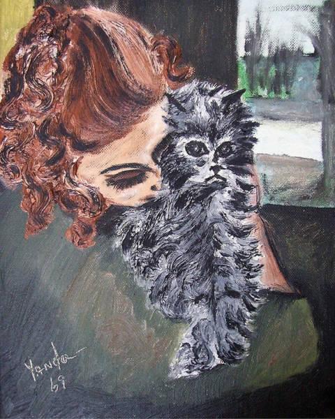 Painting - Girl Holding Kitty by Katt Yanda
