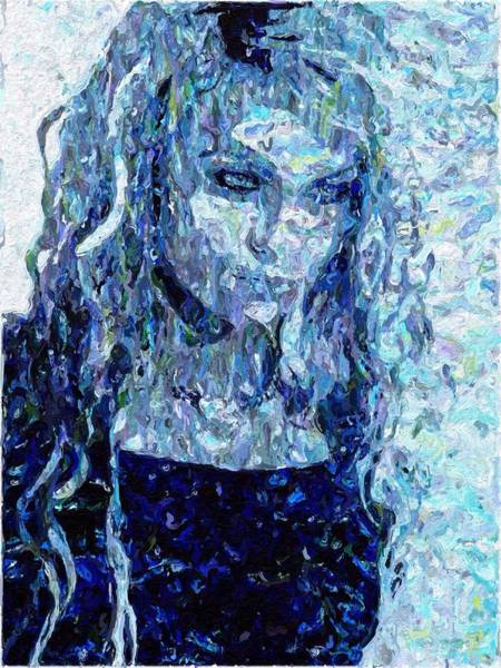 Painting - Girl In A Blue Dress by Mark Taylor