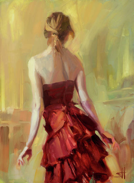 Posture Painting - Girl In A Copper Dress I by Steve Henderson